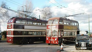 Reading trolleybuses assembling for the event
